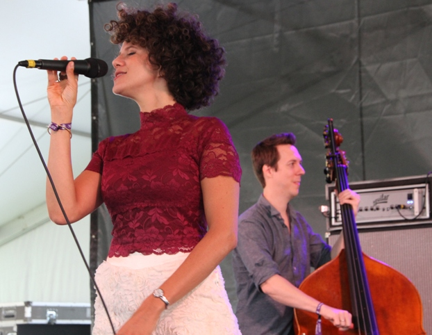 Singer Cyrille Aimee, with bassist Shawn Conley, at the 2017 Newport Jazz Festival on Sunday, August 6, 2017.