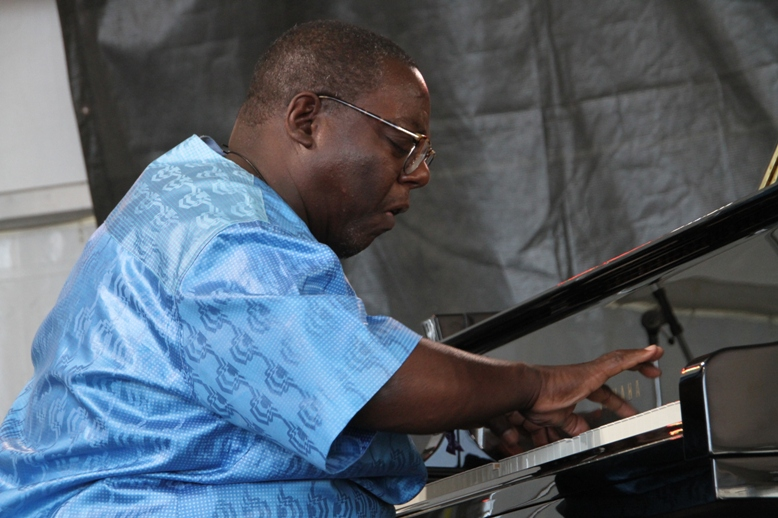 Pianist Cyrus Chestnut performing with his trio at the Newport Jazz Festival on Sunday, August 6, 2017.