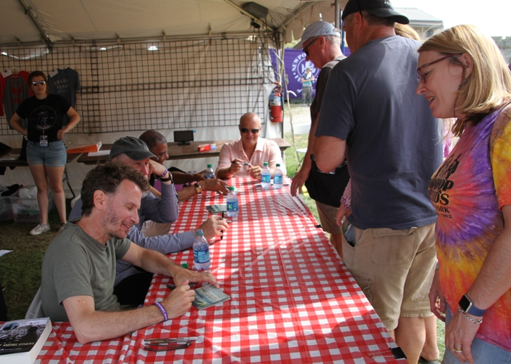 The all-star group Hudson, with drummer Jack DeJohnette, bassist Larry Grenadier, keyboard player John Medeski and guitarist John Scofield, signed CDs an hour before their performance closing the Quad Stage at the Newport Jazz Festivavl on August 6, 2017.
