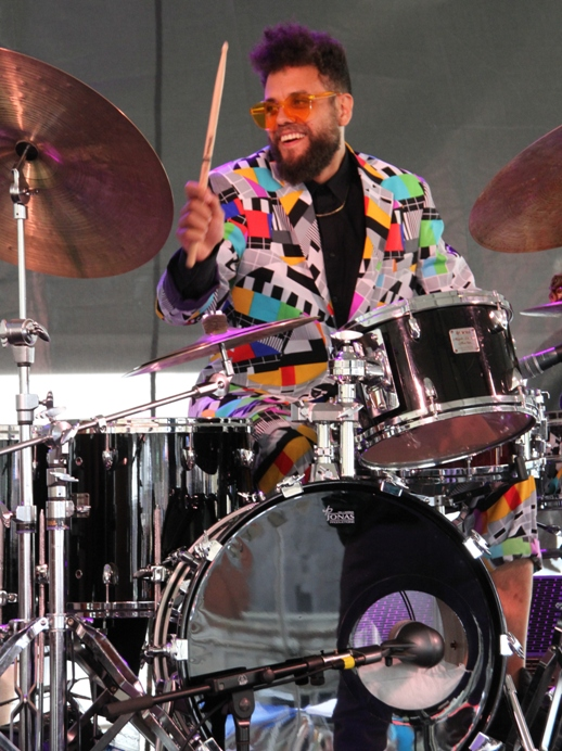 Drummer Kassa Overall, performing two sets with trumpeter Theo Croker, on Sunday, August 6, took vibrant fashion honors at the 2017 Newport Jazz Festival.