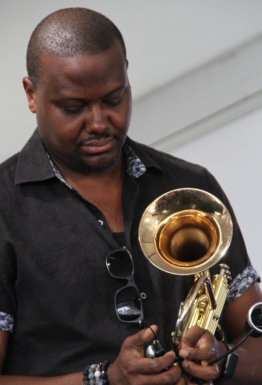 Trumpeter Sean Jones at the 2017 Newport Jazz Festival on Sunday, August 6, 2017.
