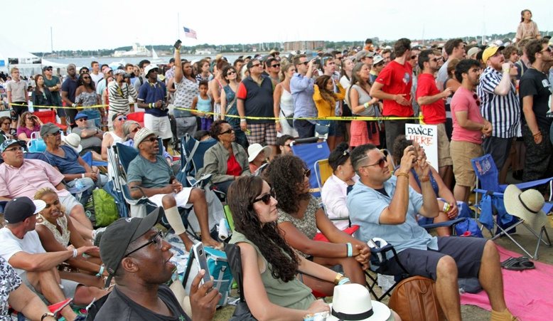 Part of the huge crowd at the main stage for the 2017 Newport Jazz Festival's closing act, The Roots, on Sunday, August 6, 2017.