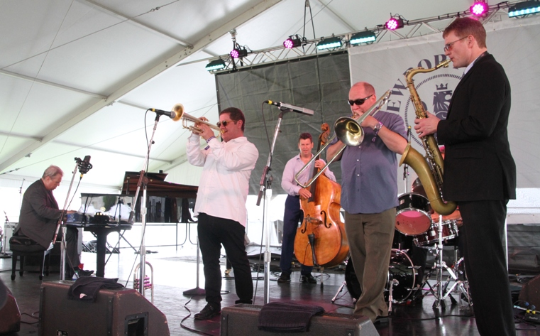 The 20-year-old jazz collective One for All at the 2017 Newport Jazz Festival's Quad Stage on Friday, August 4, 2017.  The band includes saxophonist Eric Alexander, trumpeter Jim Rotondi, trombonist Steve Davis, pianist David Hazeltine, bassist John Webber and drummer Joe Farnsworth.