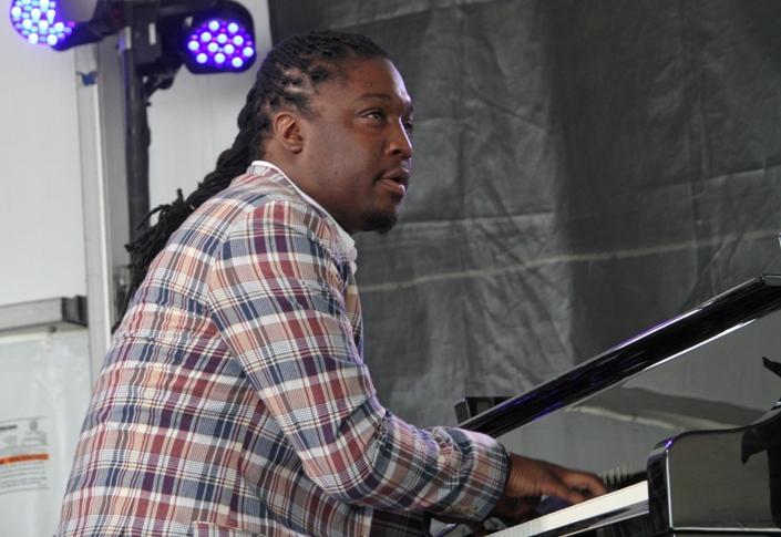 Pianist George Burton on stage at the Newport Jazz Festival on Friday, August 4, 2017. His quintet, performing on the Harbor Stage, included saxophonist Tim Warfield, trumpeter Jason Palmer, bassist Pablo Menares and drummer Wayne Smith Jr.