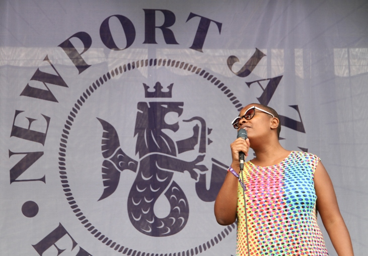 Singer Cecile McLorin Salvant performing at the 2017 Newport Jazz Festival on Friday, August 4, 2017.