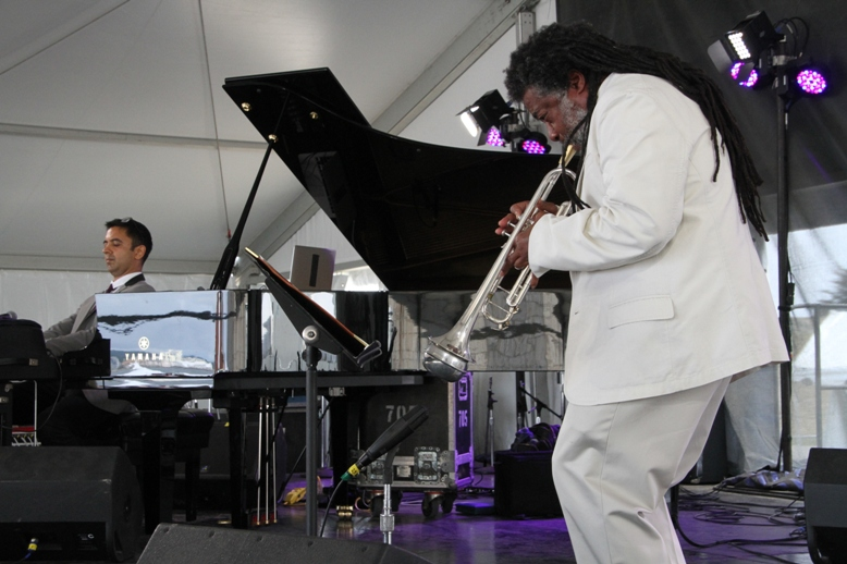 Pianist Vijay Iyer and trumpeter Wadada Leo Smith at the 2017 Newport Jazz Festival on Friday, August 4, 2017.