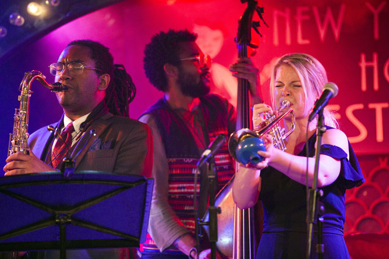 Bria Skonberg, with saxophonist Patrick Bartley and bassist Russell Hall