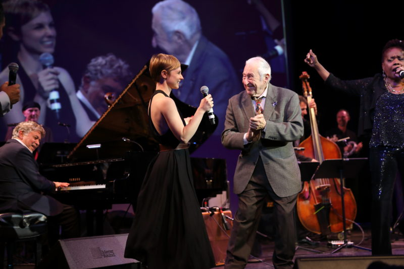 Monty Alexander, Kat Edmonson, Fred Taylor, John Patitucci and Catherine Russell at Fred Taylor Scholarship benefit concert at Berklee Performance Center (photo by Kofi Poku)
