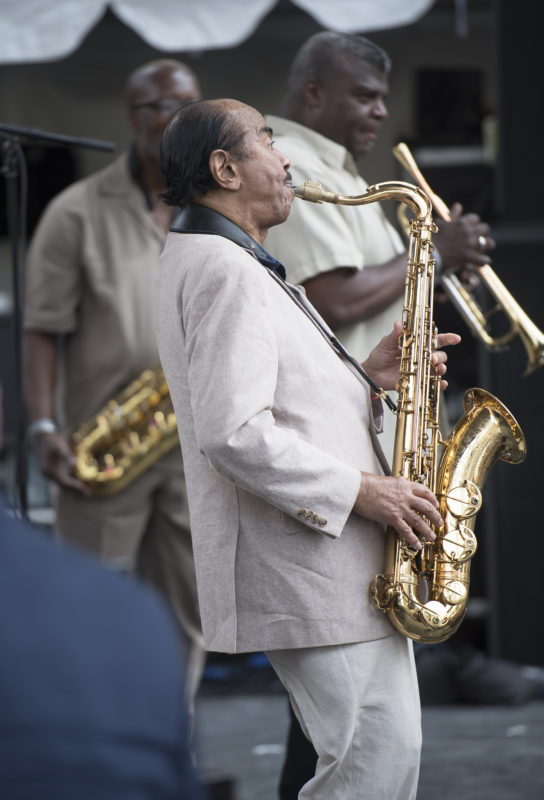 "Benny Golson guests in the world premiere of ""Hank's Symphony,"" a tribute to Hank Mobley with lyrics by George V. Johnson Jr., at the 2017 Detroit Jazz Festival"