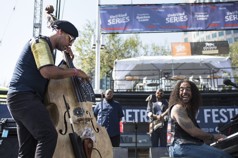 Pianist Cameron Graves and bassist Miles Mosley at the 2017 Detroit Jazz Festival
