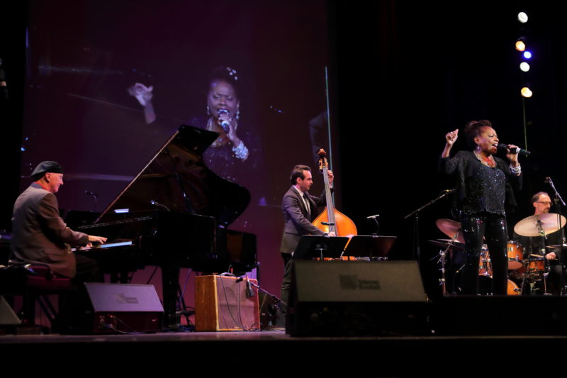 Catherine Russell (w/Tim Ray, James Dale and Mark Walker) performing at Fred Taylor Scholarship benefit concert at Berklee Performance Center (photo by Kofi Poku)