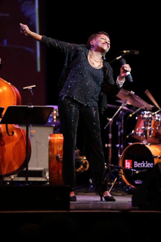 Catherine Russell performing at Fred Taylor Scholarship benefit concert at Berklee Performance Center (photo by Kofi Poku)