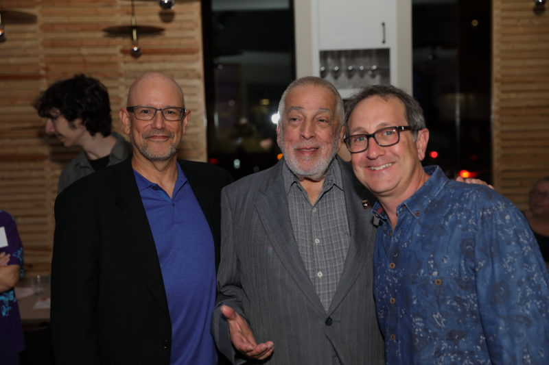 David Sholemson, John Sdoucos and Danny Melnick at after party for Fred Taylor Scholarship benefit concert at Berklee Performance Center (photo by Kofi Poku)