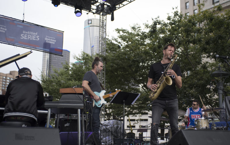Jason Lindner, Tim Lefebvre, Donny McCaslin and Mark Guiliana (from left) at the 2017 Detroit Jazz Festival