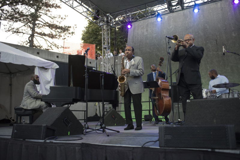 Saxophonist Benny Golson, along with trumpeter Eddie Henderson, performs at the 2017 Detroit Jazz Festival