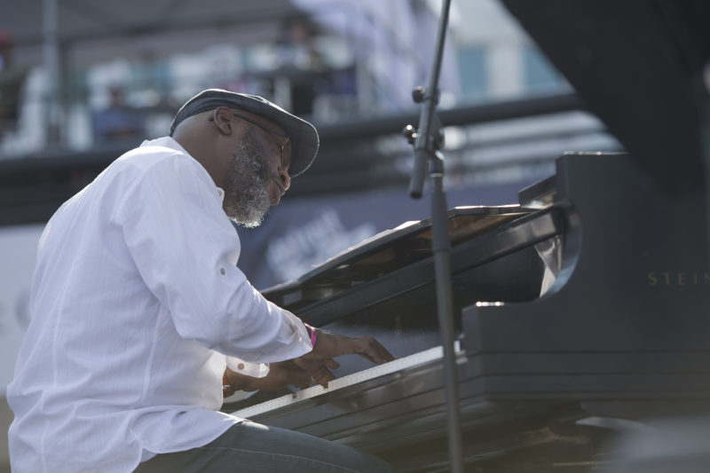 Orrin Evans performs in the Sean Jones Quintet at the 2017 Detroit Jazz Festival