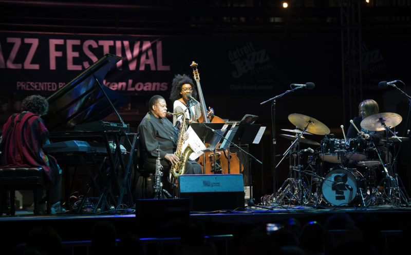 Leo Genovese, 2017 Detroit Jazz Festival artist-in-residence Wayne Shorter, Esperanza Spalding and Terri Lyne Carrington (from left)