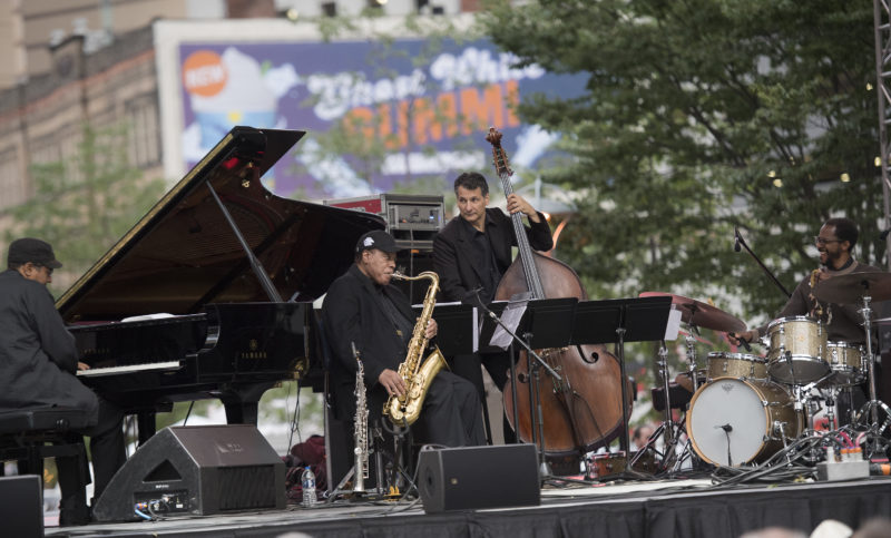 Danilo Pérez, Wayne Shorter, John Patitucci and Brian Blade (from left) at the 2017 Detroit Jazz Festival