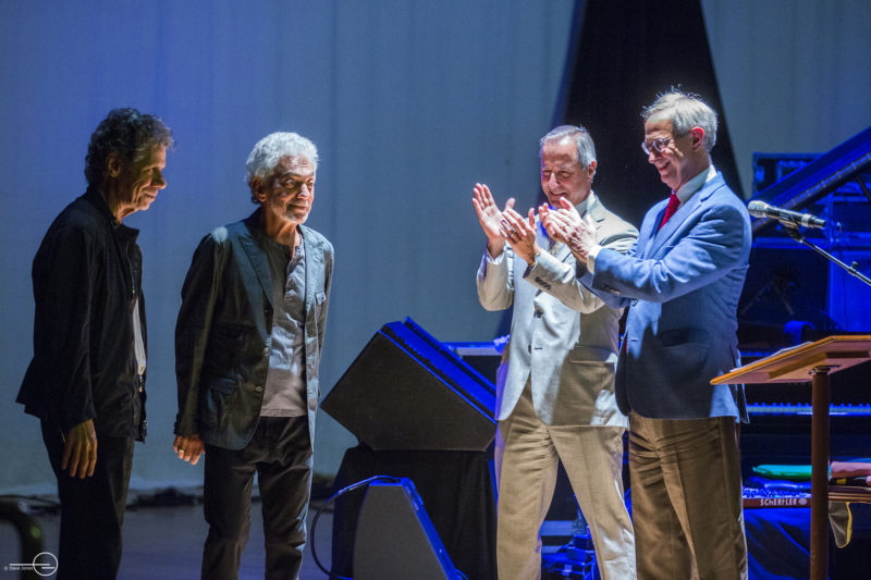 Photo: (L to R) Chick Corea, Steve Gadd, Jamal Rossi – Dean of the Eastman School of Music, Joel Seligman – President of the University of Rochester.