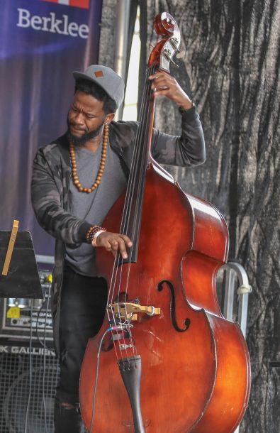 Ben Williams performing with Jazzmeia Horn at 2017 Berklee Beantown Jazz Festival (photo by Joseph Allen)