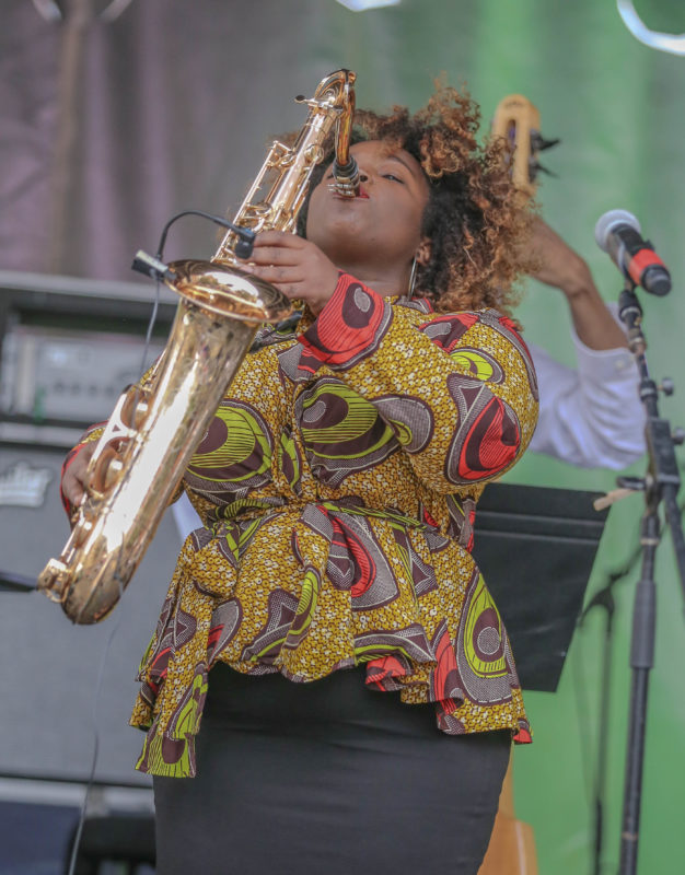 Camille Thurman performing at 2017 Berklee Beantown Jazz Festival (photo by Joseph Allen)