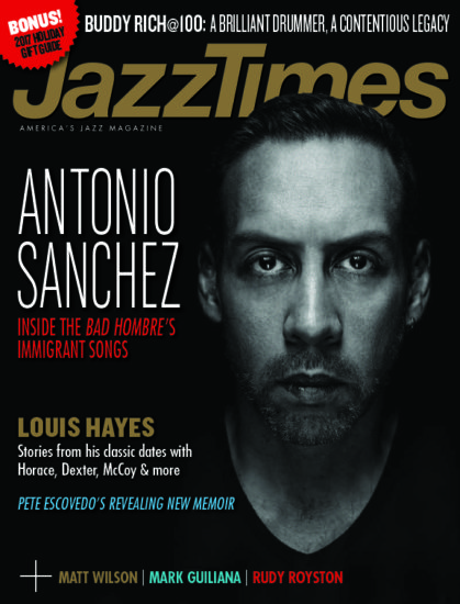 Cover of November 2017 issue of JazzTimes with spotlight on jazz drummers
