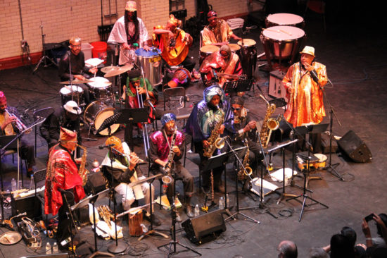 Photo of Sun Ra Arkestra at October Revolution of Jazz and Contemporary Music (photo by Hugh Wilikofsky)
