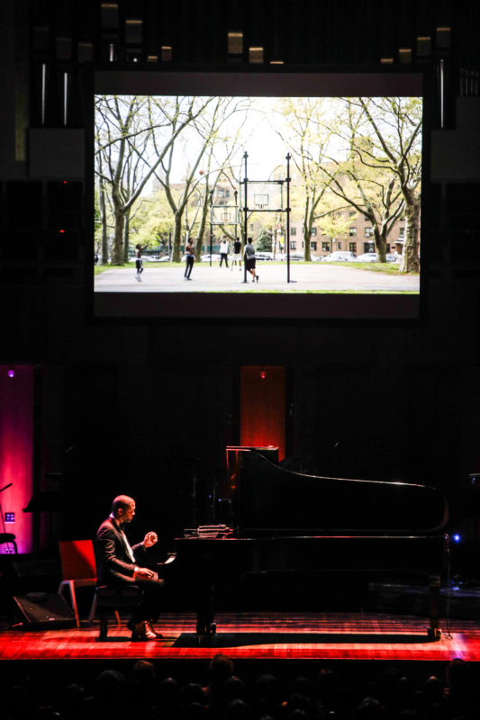 Jason Moran performing at the Kennedy Center for the Monk Centennial celebration (photo by Jati Lindsay)