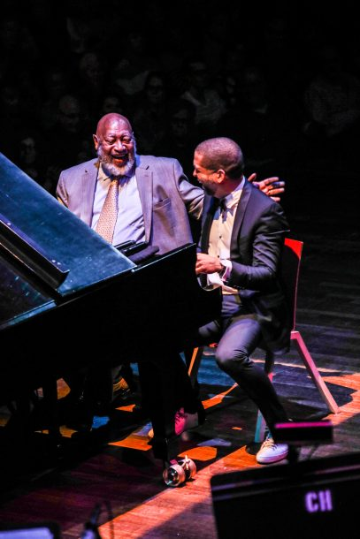 Kenny Barron and Jason Moran at the Kennedy Center for the Monk Centennial concert (photo by Jati Lindsay)