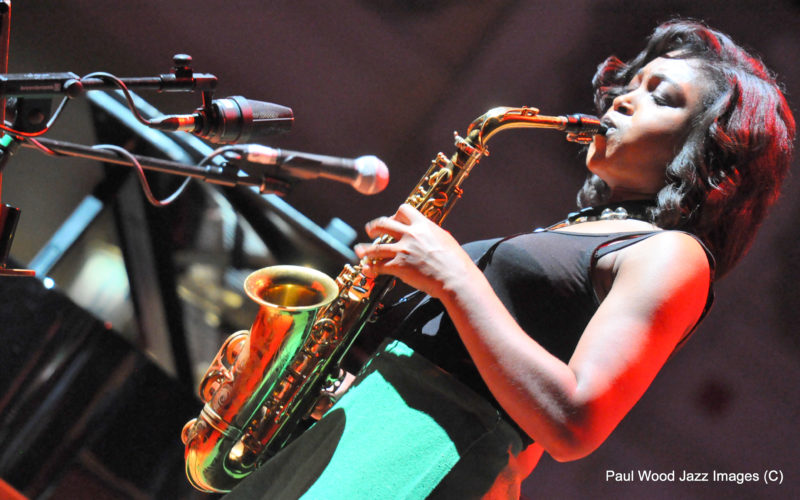 Saxophonist Camilla George performing at the 2017 London Jazz Festival  (photo by Paul Wood)