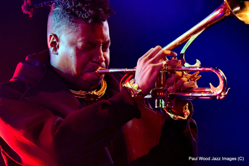 Christian Scott in performance at the 2017 London Jazz Festival (photo by Paul Wood)