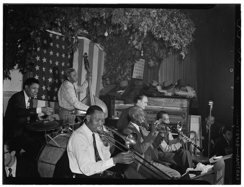 Photo of New Orleans greats for story about teaching traditional jazz