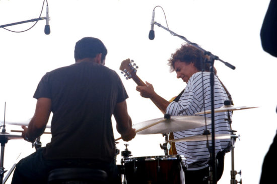 Antonio Sanchez and Pat Metheny in 2003 (photo by Alan Nahigian)