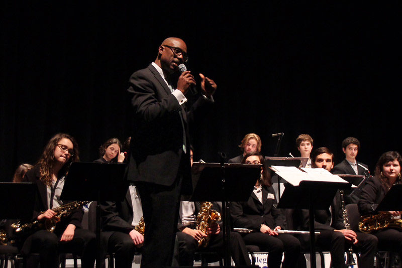 Paul Carr leading his Jazz Academy Orchestra for article on bandstand behavior