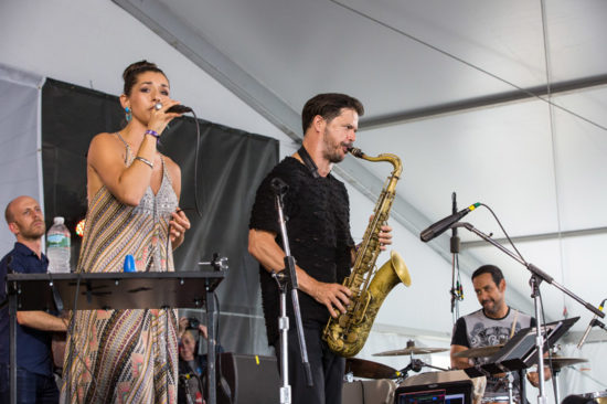 Migration at Newport: Matt Brewer, Thana Alexa, Seamus Blake, Antonio Sanchez (photo by Alan Nahigian)