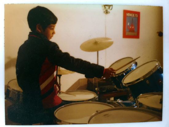 Antonio Sanchez at age 9, after he received his first drum kit