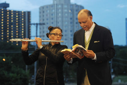jazz and poetry with Nicole Mitchell with poet Haki Madhubuti (photo by Jasmine Kwong)
