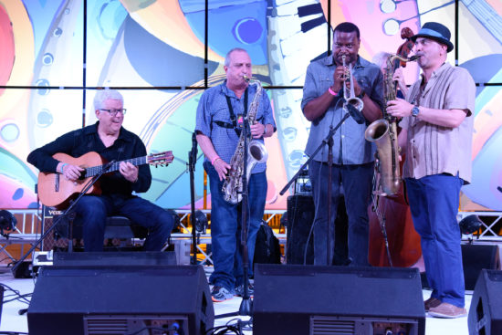 Trio da Paz's Romero Lubambo with special guests George Garzone, Sean Jones and Marco Pignataro (from left)