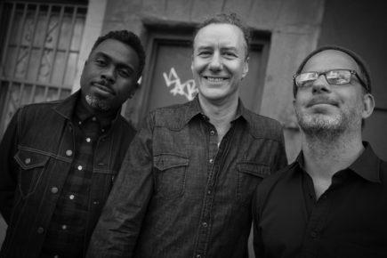 DICE trio: (l to r) Nate Smith, Adam Rogers and Fima Ephron (photo by Kyra Kverno)