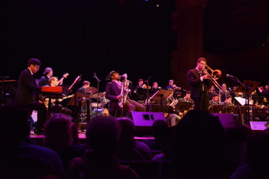 Archie Shepp in performance at Princeton with the school's jazz orchestra conducted by Darcy James Argue