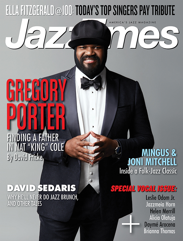Cover of December 2017 issue of JazzTimes featuring many pieces by Christopher Loudon