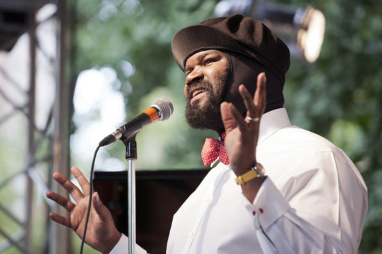 Gregory Porter performing in Madison Square Park on June 27, 2012 (photo by Alan Nahigian)