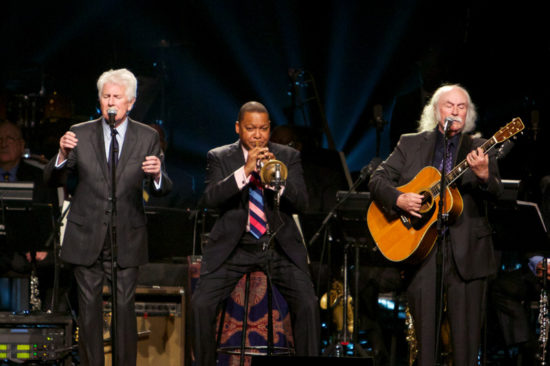 Graham Nash, Wynton Marsalis and David Crosby perform in a benefit concert at Jazz at Lincoln Center in 2013 (photo by Julie Skarratt/Jazz at Lincoln Center)