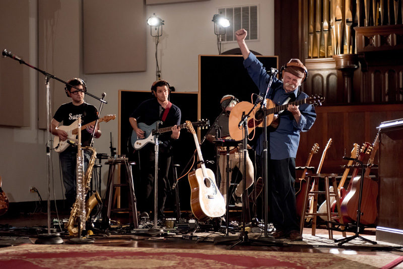 David Crosby recording with Snarky Puppy in New Orleans, for the band's 2016 release Family Dinner - Volume 2 (photo by Stella K)