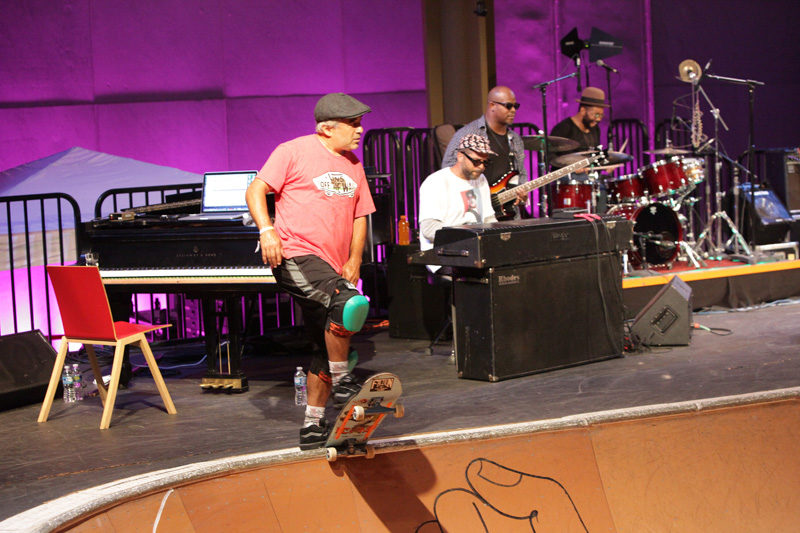 At the Kennedy Center in 2015, skate icon Steve Caballero prepares to drop as Moran and company groove