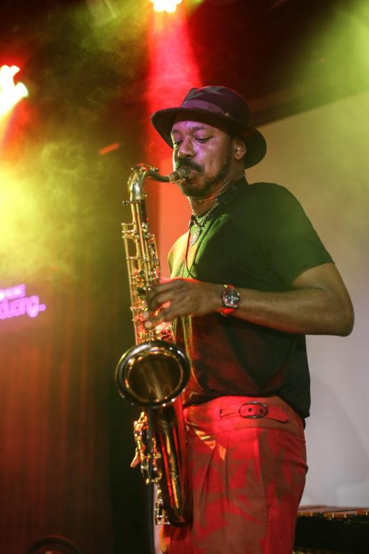 Shabaka Hutchings at 2018 Winter Jazzfest NYC (photo by Jati Lindsay)