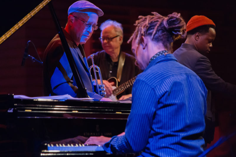 Gerald Clayton performing tribute to Dizzy Gillespie with (l. to r.) Dave Douglas, Bill Frisell and Ambrose Akinmusire at Appel Room at Jazz at Lincoln Center (photo by Lawrence Sumulong)