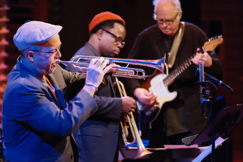 Dave Douglas performing tribute to Dizzy Gillespie with Ambrose Akinmusire and Bill Frisell at Appel Room at Jazz at Lincoln Center (photo by Lawrence Sumulong)
