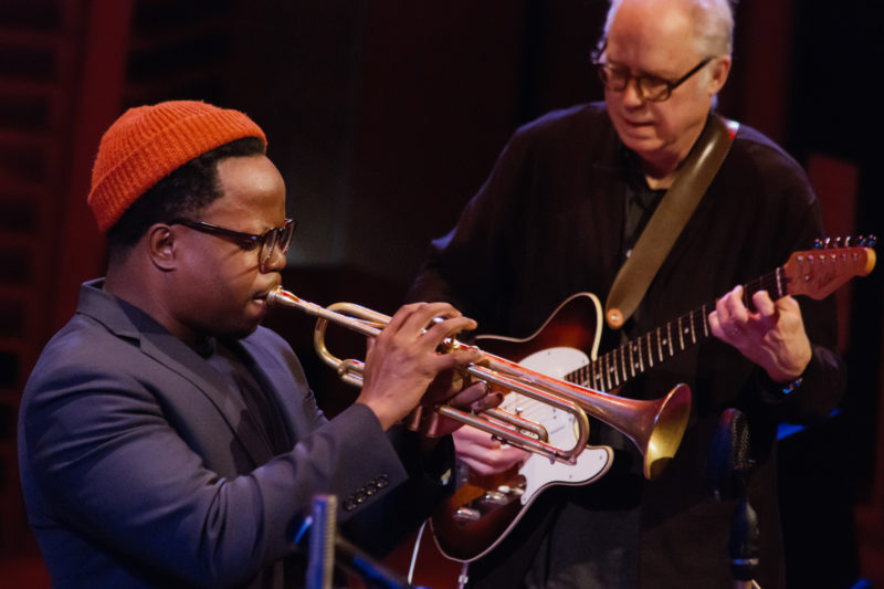 Ambrose Akinmusire and Bill Frisell performing tribute to Dizzy Gillespie with Dave Douglas at Appel Room at Jazz at Lincoln Center (photo by Lawrence Sumulong)