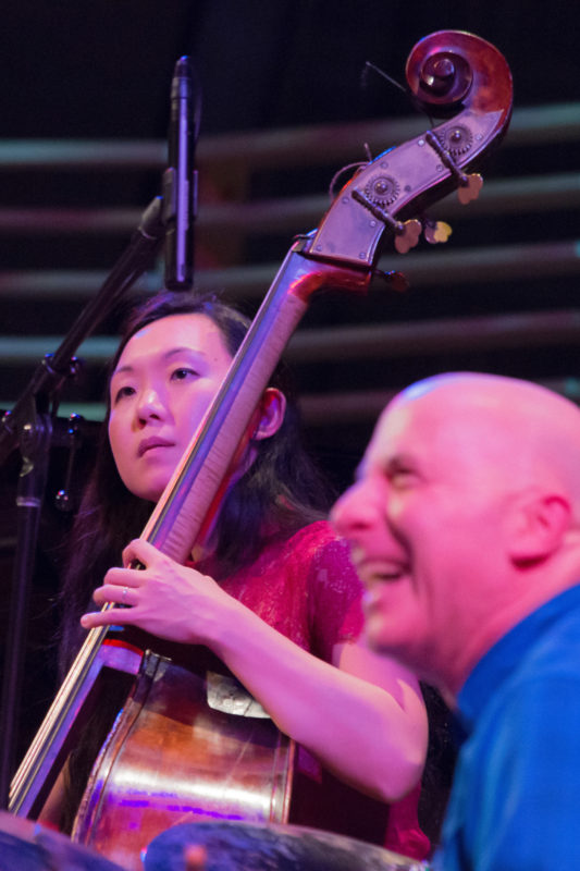 Linda May Han Oh and Joey Baron performing tribute to Dizzy Gillespie led by Dave Douglas at Appel Room at Jazz at Lincoln Center (photo by Lawrence Sumulong)